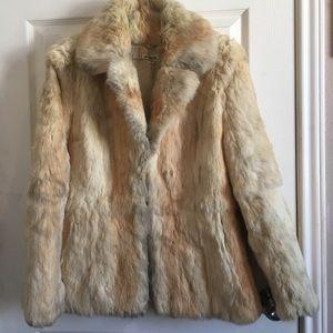 Jackets & Blazers - Vintage cream colored rabbit fur coat